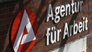 El logotipo de una agencia de empleo alemana el 12 de febrero de 2020 en Castrop-Rauxel, al oeste de Alemania