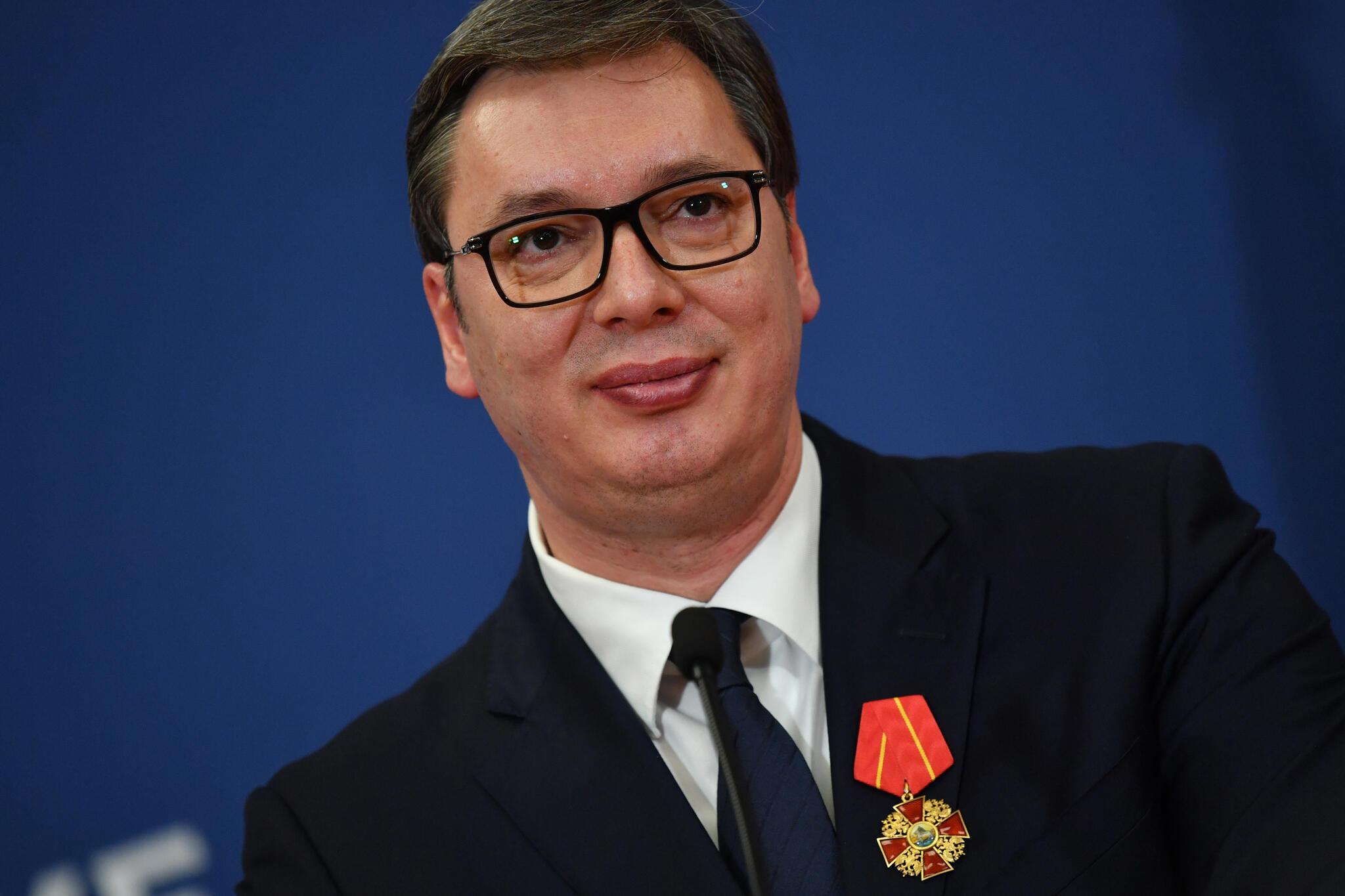 Le président serbe Aleksandar Vučić, lors d'une conférence de presse donnée à Belgrade, le 17 janvier 2019.