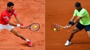 Le Serbe Novak Djokovic (g) lors de son quart de finale à Roland-Garros, le 9 juin 2021, et l'Espagnol Rafael Nadal lors du 3e tour de Roland-Garros, le 5 juin 2021