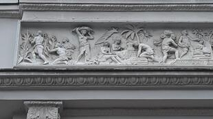 Slaves working on the tobacco plantations in the frieze on historic Ermelerhaus, named after Ferdinand-Wilhelm Ermeler, the co-founder of the tobacco industry in Berlin