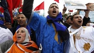 Marchers chant slogans during a demonstration in Casablanca
