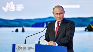 俄罗斯总统弗拉基米尔·普京在符拉迪沃斯托克(海参崴)东部经济论坛会议期间发表讲话。2018年9月12日