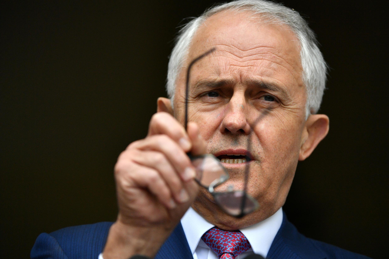 Thủ tướng Úc Malcolm Turnbull phát biểu trong buổi họp báo tại Nghị Viện, Canberra, Úc, ngày 05/12/2017.