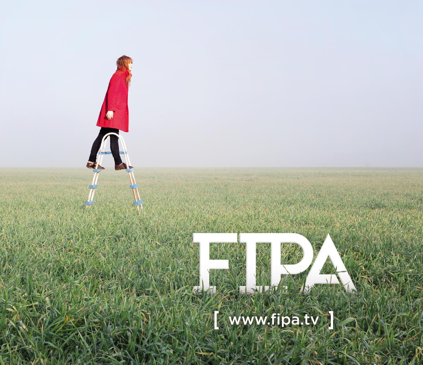 Détail de l'affiche officielle du 28e Festival international de programmes audiovisuels (FIPA) à Biarritz, du 20 au 25 janvier 2015.