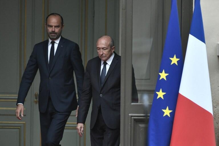 Edouard Philippe (g.) et Gérard Collomb, le 3 octobre 2018 au ministère de l'Intérieur.