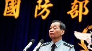 台湾国防部副部长在记者会上(资料照)