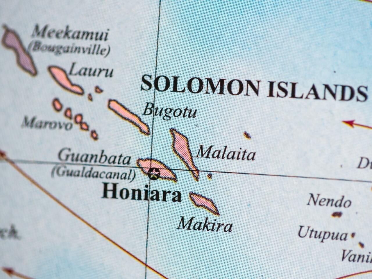 圖為所羅門群島國在南太平洋地圖
