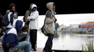 Migrantes em Paris, em 30 de Maio de 2018.