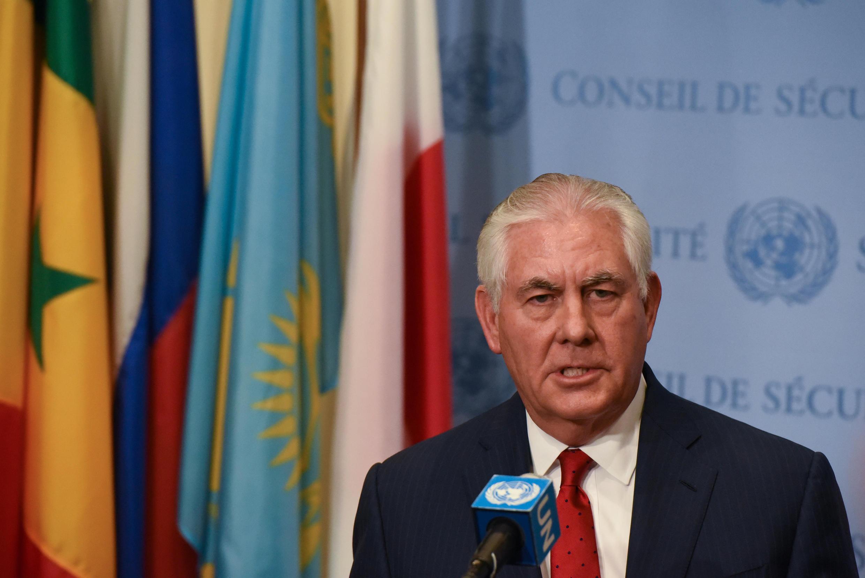 Ngoại trưởng Mỹ Rex Tillerson họp báo sau phiên họp tại Hội Đồng Bảo An LHQ -New York, ngày 15/12/2017.