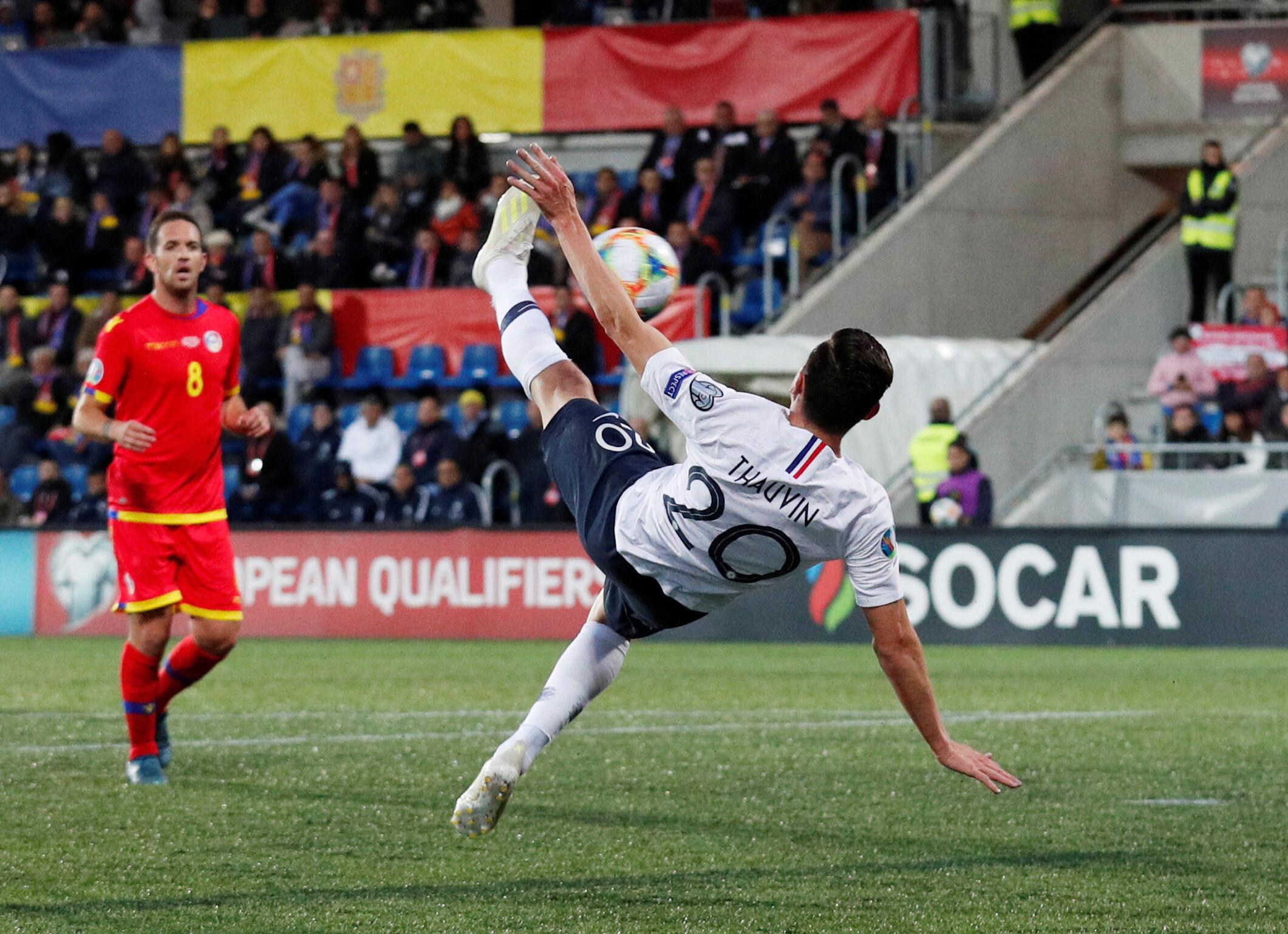Florian Thauvin a inscrit le 3e but de la France contre Andorre sur un ciseau, le 11 juin 2019.
