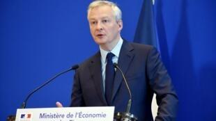 Le ministre de l'Économie Bruno Le Maire a présenté, lors d'une conférence de presse avant le Conseil des ministres, le mercredi 6 mars 2019, son projet de taxation pour les GAFA.