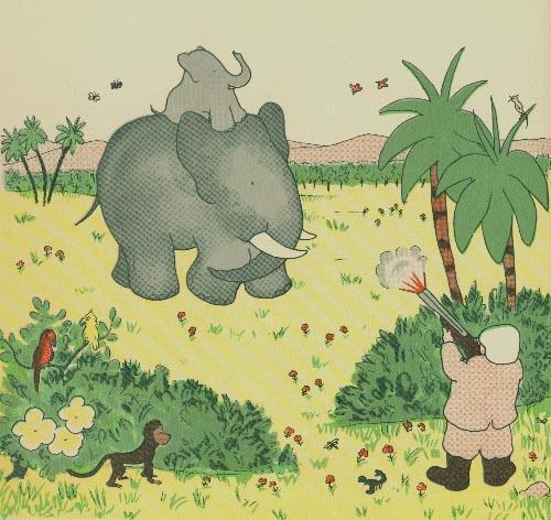 森林裡小象的媽媽遭獵人槍殺,是巴巴傳奇的開始。這也是讓 德-布呂諾夫繪製的原版畫。