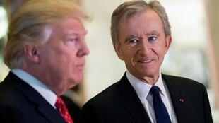 Bernard Arnault, chief executive of French luxury conglomerate LVMH, with US President Donald Trump in New York in January 2017, weeks after he was elected president.