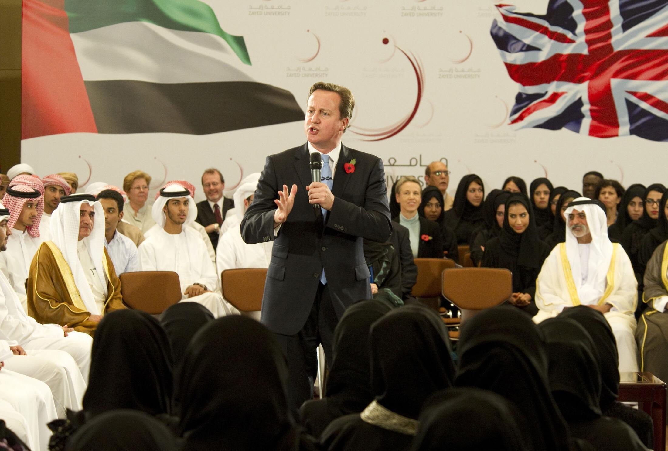 دیوید کامرون، نخست وزیر بریتانیا، در دانشگاه ابوظبی - ١٥ آبان/ ٥ نوامبر ٢٠١٢