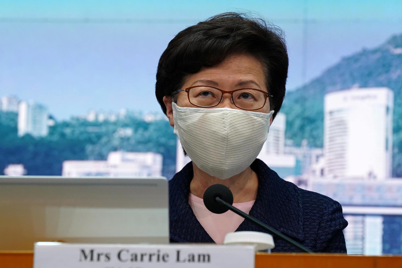 La cheffe de l'exécutif hong-kongais Carrie Lam lors d'une conférence de presse, le 31 juillet 2020.