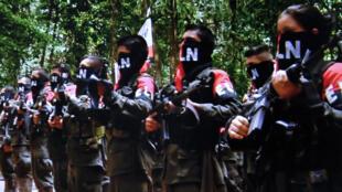 Capture d'écran d'une vidéo datée du 7 janvier 2015 prise sur le site de l'Armée de libération nationale (ELN) représentant les guérilleros lors de leur congrès en décembre.