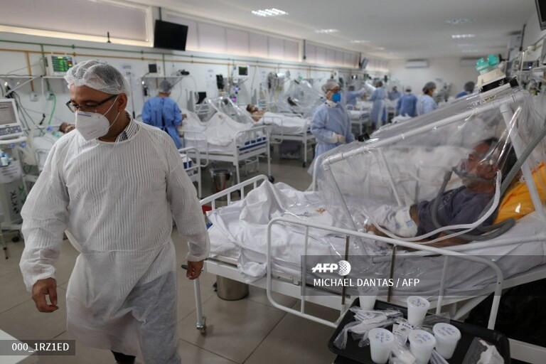 Một phòng hồi sức tăng cường điều trị Covid-19 tai bệnh viên Gilberto Novaes, thành phố Manaus, Brazil ngày 20/05/2020.