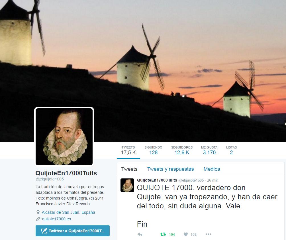 Captura de pantalla de la cuenta que tuiteó El Quijote.