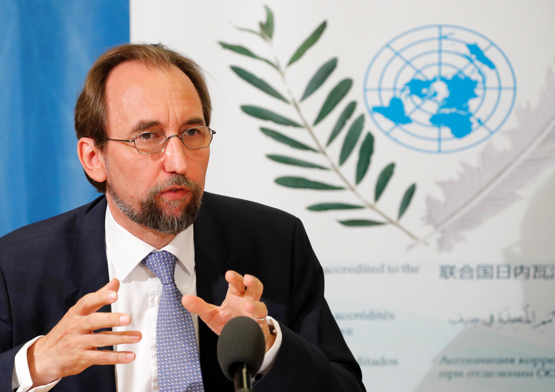 کنفرانس مطبوعاتی زید رعد حسین، کمیسر عالی حقوق بشر سازمان ملل متحد در شهر ژنو سویس. چهارشنبه ۷ شهریور/ ٢٩ اوت ٢٠۱٨
