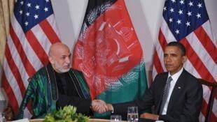 Tổng thống Mỹ Barack Obama và Tổng thống Afghanistan Hamid Karzai trong cuộc gặp song phương ngày 20/09/2011 tại New York.