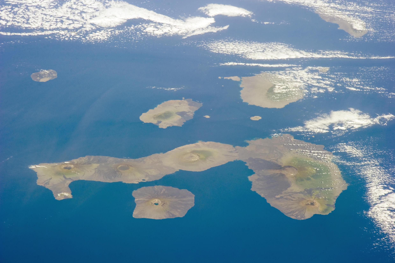 Vue aérienne de l'archipel des Galapagos.