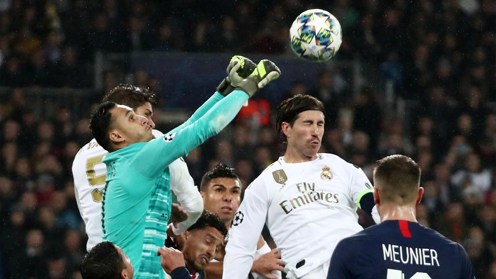Le gardien de but Keylor Navas (PSG), pendant le match contre le Real Madrid, le 26 novembre 2019.