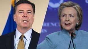 """Giám đốc FBI James Comey (T) đang là """"đối thủ"""" đáng ngại của Hillary Clinton."""