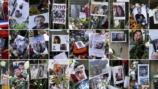 Fotomontagem mostra retratos de vítimas dos ataques em Paris.