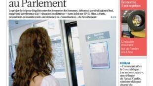 Capa do jornal francês La Croix desta segunda-feira, 20 de janeiro de 2014