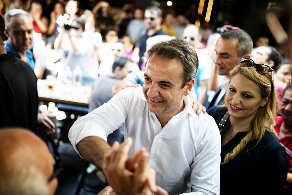 Lãnh đạo đảng Dân Chủ Mới, Kyriakos Mitsotakis, vận động bầu cử ở Alexandroupolis, Hy Lạp, ngày 28/06/2019.