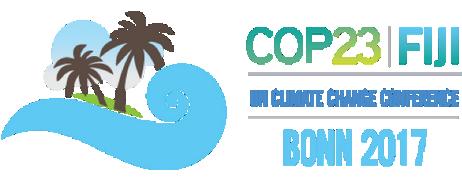 Logótigo de COP23, sobre mudanças climáticas de membros da ONU, reunidos, em Bona, Alemanha
