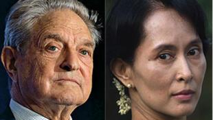 Tỷ phú Mỹ George Soros (trái) và lãnh đạo đối lập Miến Điện Aung San Suu Kyi
