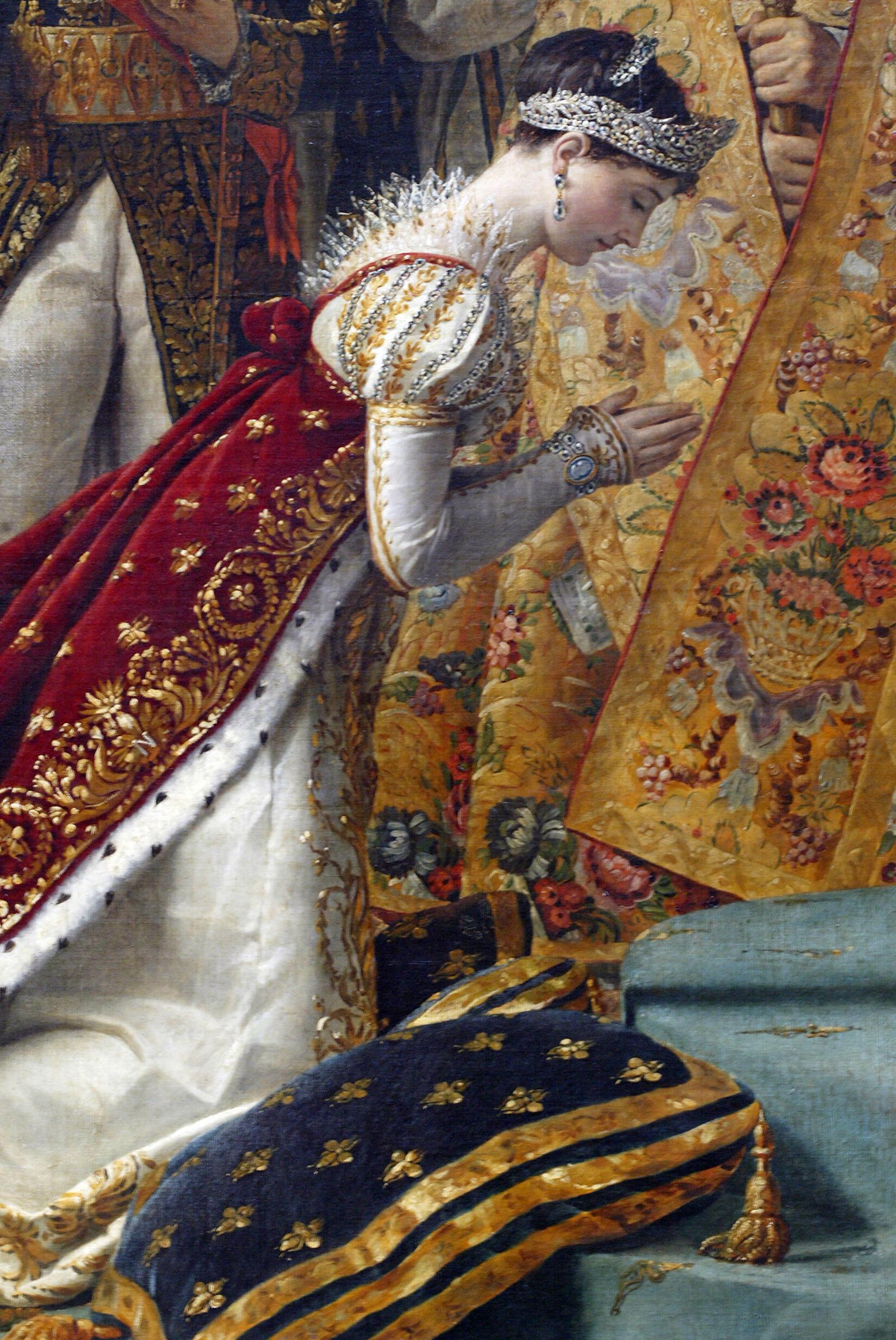Joséphine de Beauharnais, première femme de Napoléon, lors de son couronnement, le 2 décembre 1804. Détail du tableau de Jacques-Louis David.