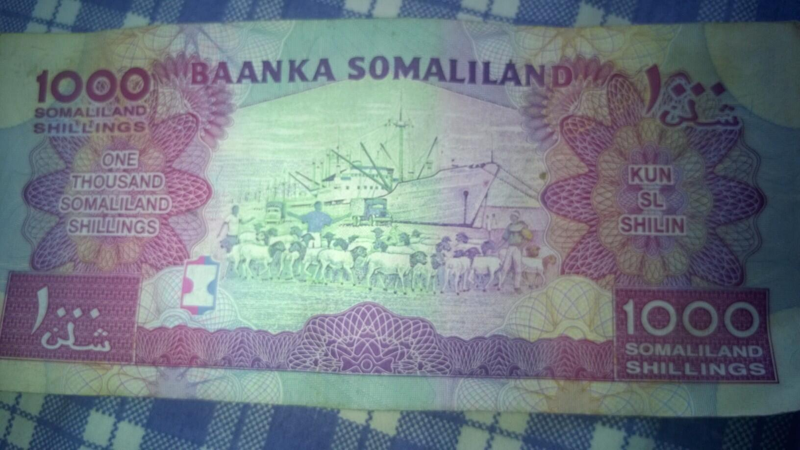 1000 Somaliland shillings depicts livestock export from the port of Berbera