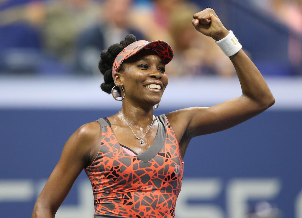 Mchezaji Venus Williams akishangilia baada ya kutinga hatua ya nusu fainali ya US Open kwa kumfunga Petra Kvitova. Sep 5, 2017