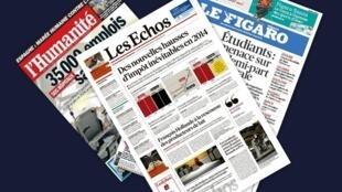 Capa dos jornais franceses Les Echos, L'Humanité e Le Figaro desta segunda-feira, 25
