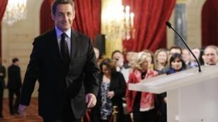 Le président français Nicolas Sarkozy, lors de la cérémonie des voeux aux parlementaires, le 11 janvier 2012 à Paris.