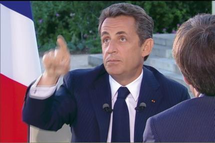 France's President Sarkozy seen in this video grab from France2 Television