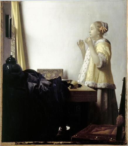 «Женщина с жемчужным ожерельем», Ян Вермеер, 1663 – 1664, Берлинская художественная галерея. Выставляется в Лувре до 22 мая 2017