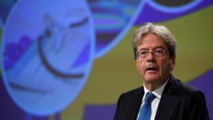 Paolo Gentiloni, commissaire européen à l'Économie et aux Finances, en conférence de presse à Bruxelles, le 28 septembre 2020.