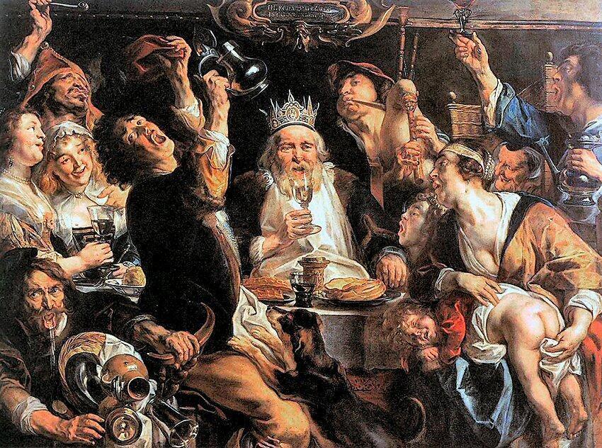 """Якоп Йорданс """"Бобовый король"""" ок. 1640 г. - музей Бельведер - Вена"""