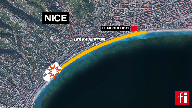 A trajetória do caminhão na Promenade des Anglais, Nice, 14 de julho de 2016.