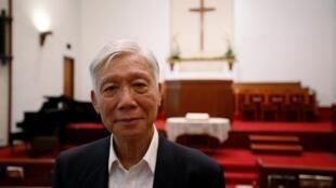"""香港""""佔中三子""""之一朱耀明牧師。2019年5月14日攝於香港"""