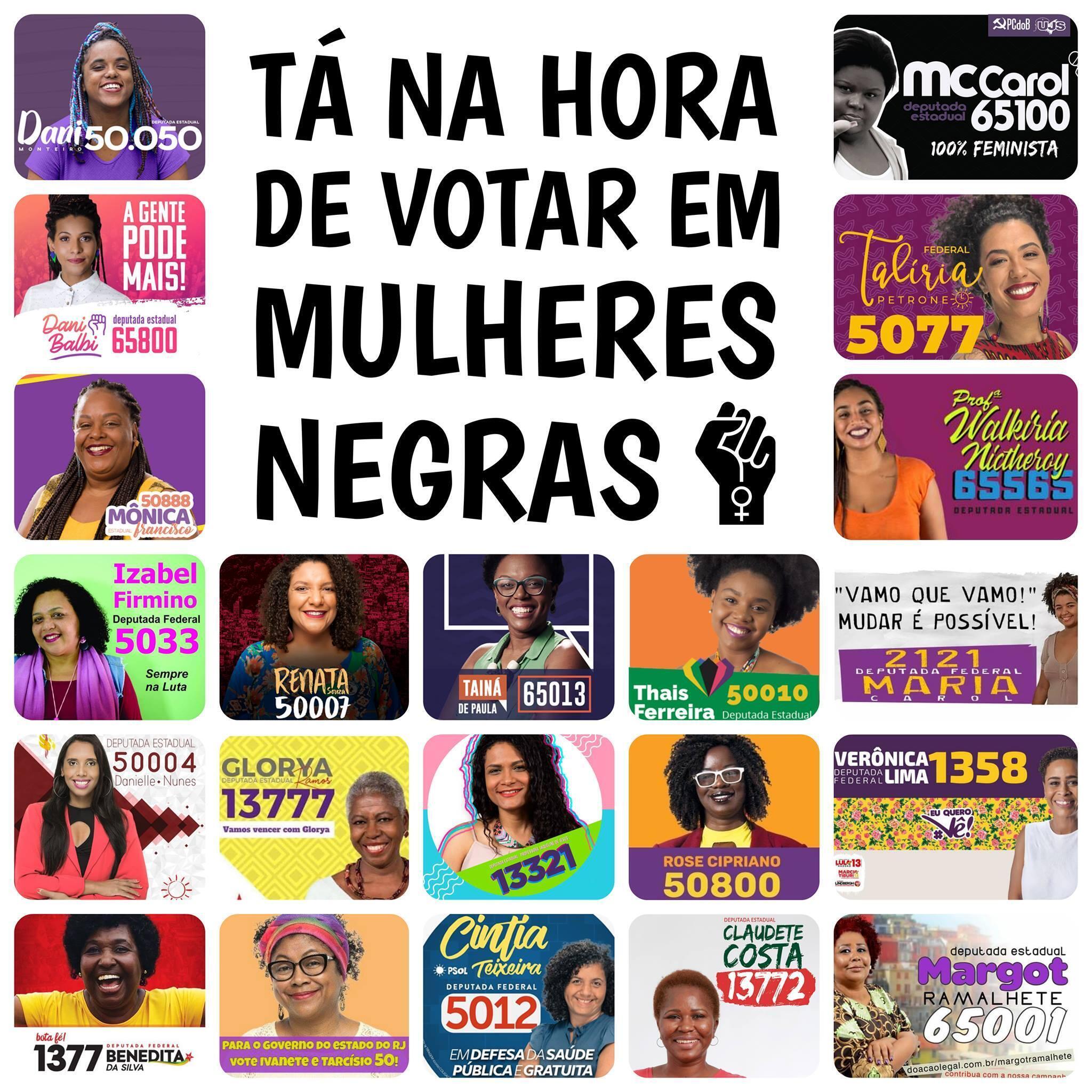 43% das candidaturas das eleições 2018 no Brasil são de mulheres negras e homens negros.