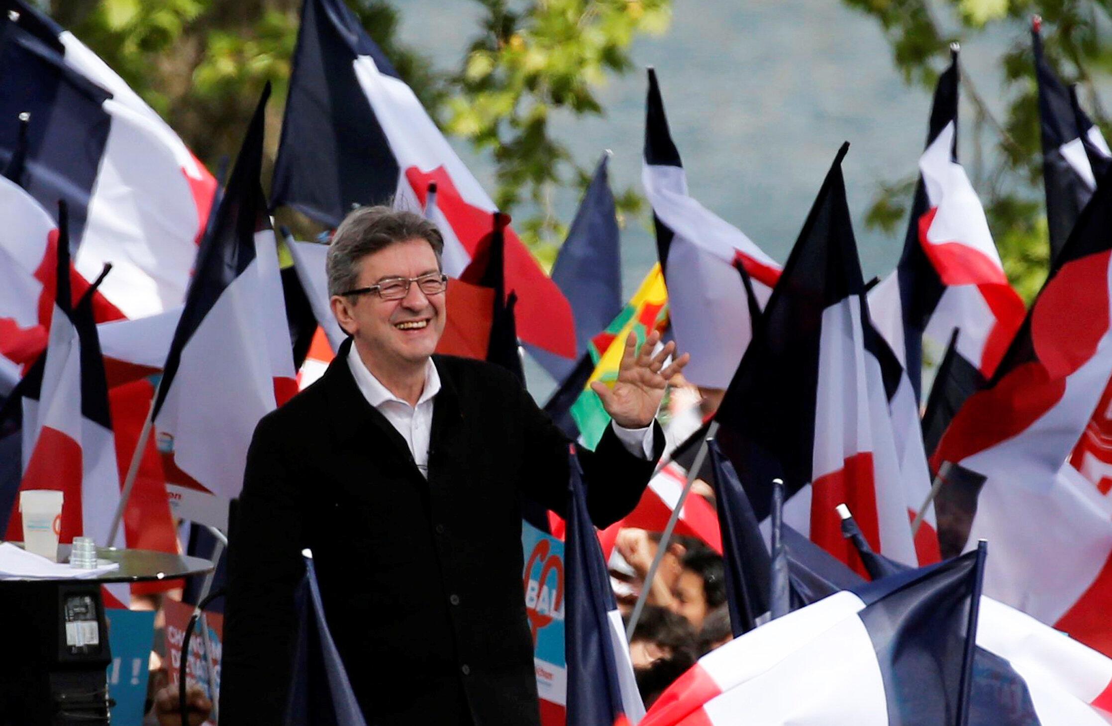 Jean-Luc Mélenchon lors de son meeting à Toulouse le 16 avril 2017.