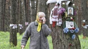 Thân nhân các nạn nhân những vụ thanh trừng của nhà độc tài Stalin tưởng niệm những người đã khuất tại một khu rừng cạnh Kiev ngày 16/5/2010.