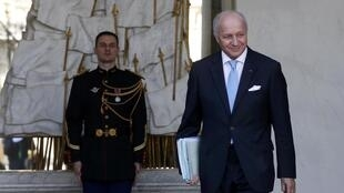 Leaving the Elysee Palace, Fabius tells the press he had taken part in his last cabinet meeting, 10 February, 2016