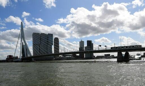 Rotterdam's Erasmus bridge connects the northern and southern parts of the city across the Nieuwe Maas River and is used by thousands of people daily