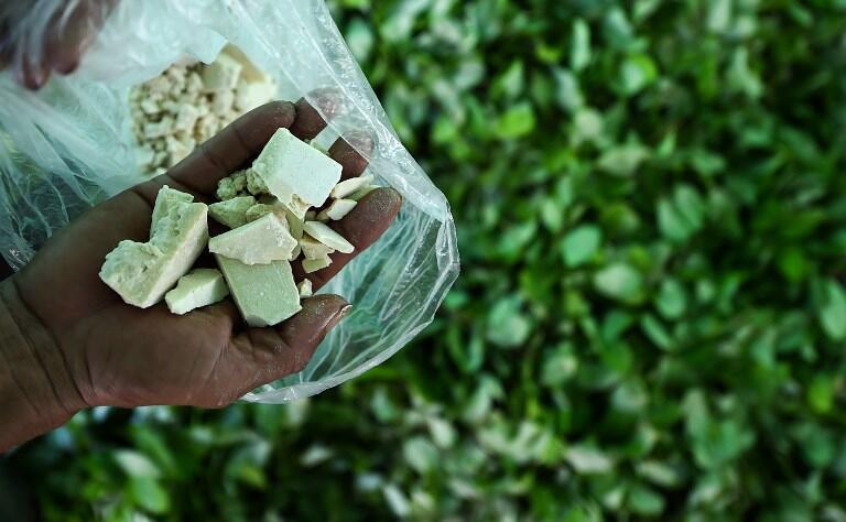 Agricultor colobiano mostra a pasta-base da cocaína, feita a partir de folhas de coca de uma fazenda clandestina, em setembro de 2017.