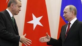Les deux chefs d'Etat turc et russe lors de leur dernière rencontre à Sotchi, le 3 mai 2017.